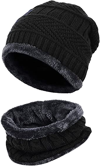 JimHappy Cute Doggy Hat for Men and Women Winter Warm Hats Knit Slouchy Thick Skull Cap Black