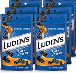 Ludens Deliciously Soothing Throat Drops, Flavor, Pack, Honey Licorice, 30 Count (Pack of 6), 6 Count