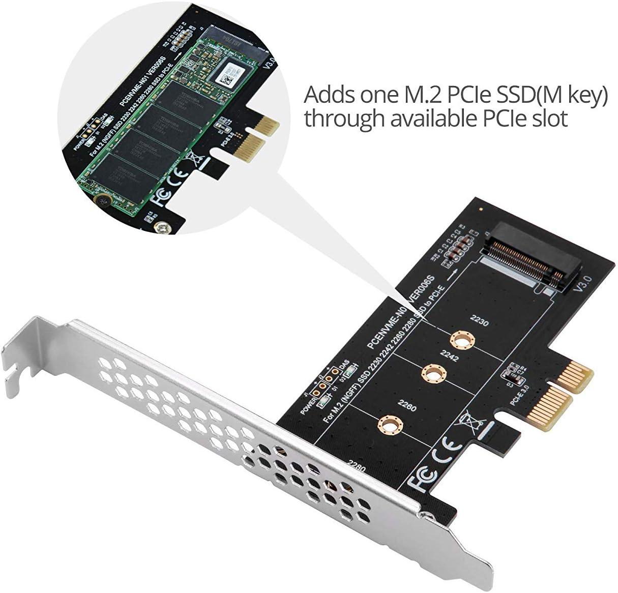 MZHOU M.2 SSD M-Key NVM PCIe 3.0 x1 Adaptador de Tarjeta con ...