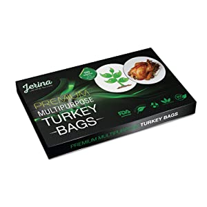 "Jerina Turkey Bag Oven Bags: Food Safe Multipurpose Turkey Bags/Home and Garden Bags for Cooking, Freezing, Preserving, Harvesting - Large 19"" x 23.5"" Turkey Size Nylon Bags - Bulk 100 Count, Clear"