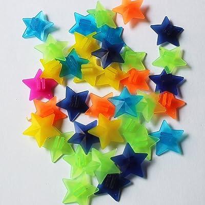 140pcs étoiles Couleurs assorties Mélange de roue de vélo rayons Plastique Clip Perle/Spoke Derections Clip en plastique Spoke Perle de vélo Fil de perles Perles