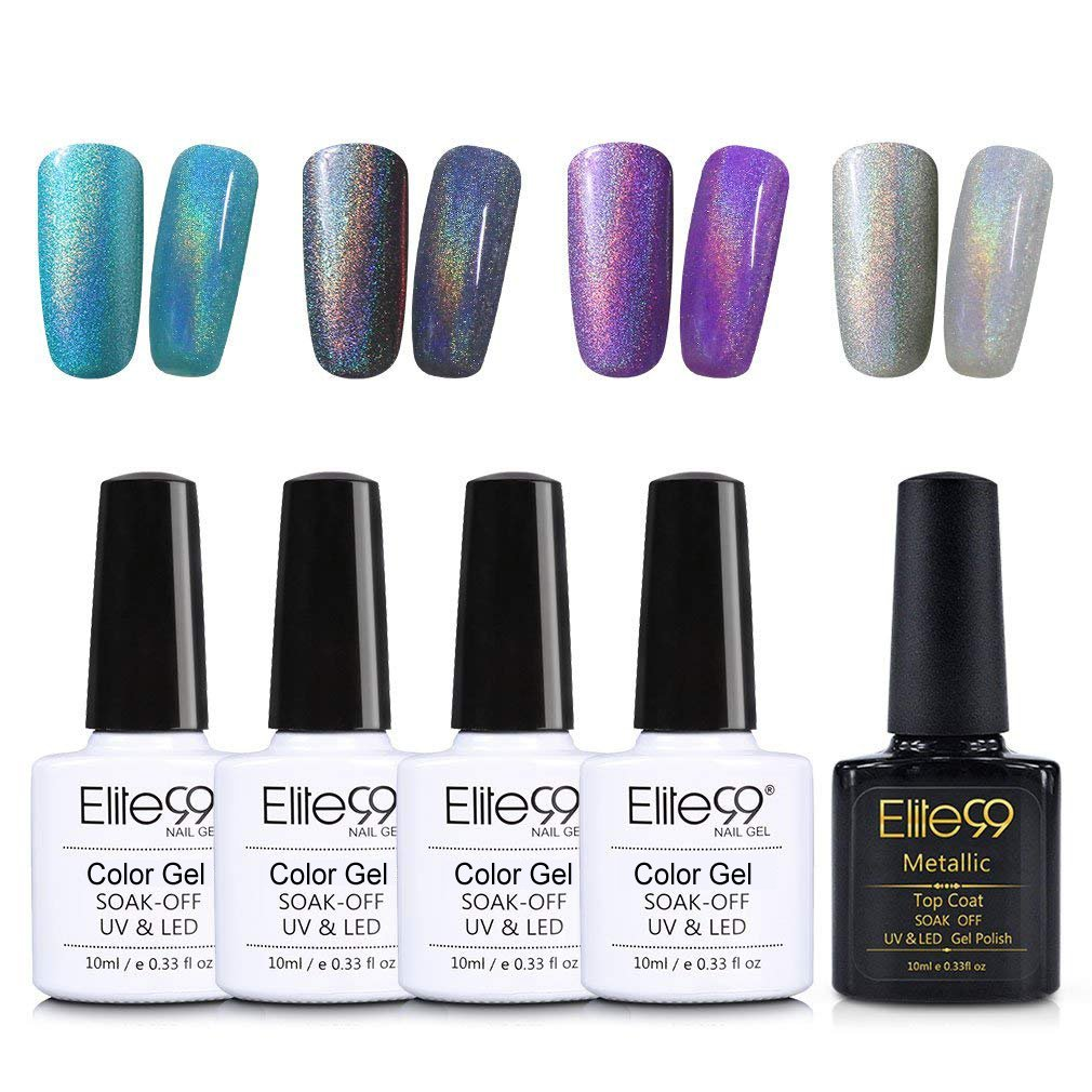 Elite99 Vernis à Ongles Coloré Arc-en-ciel Holographic 4pcs Gels+Top Coat pour Nail Art & Manucure, Tremper hors Couleur Vernis Semi permanent 10ml-003 Generic