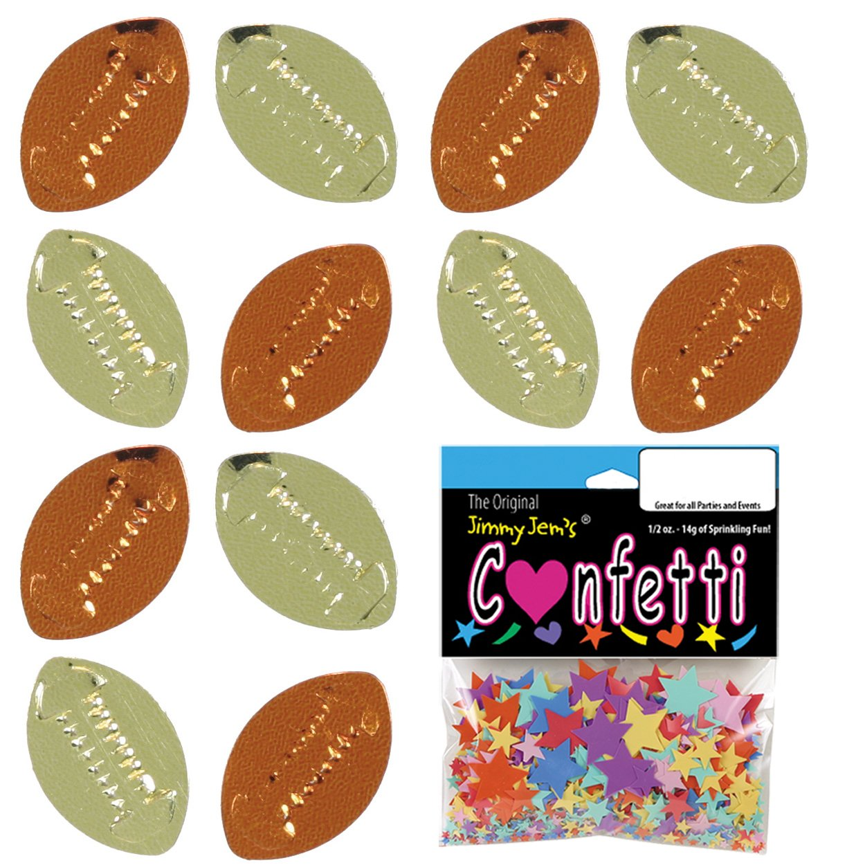 Retail Pack #9540 Confetti Football Gold Orange Free Ship