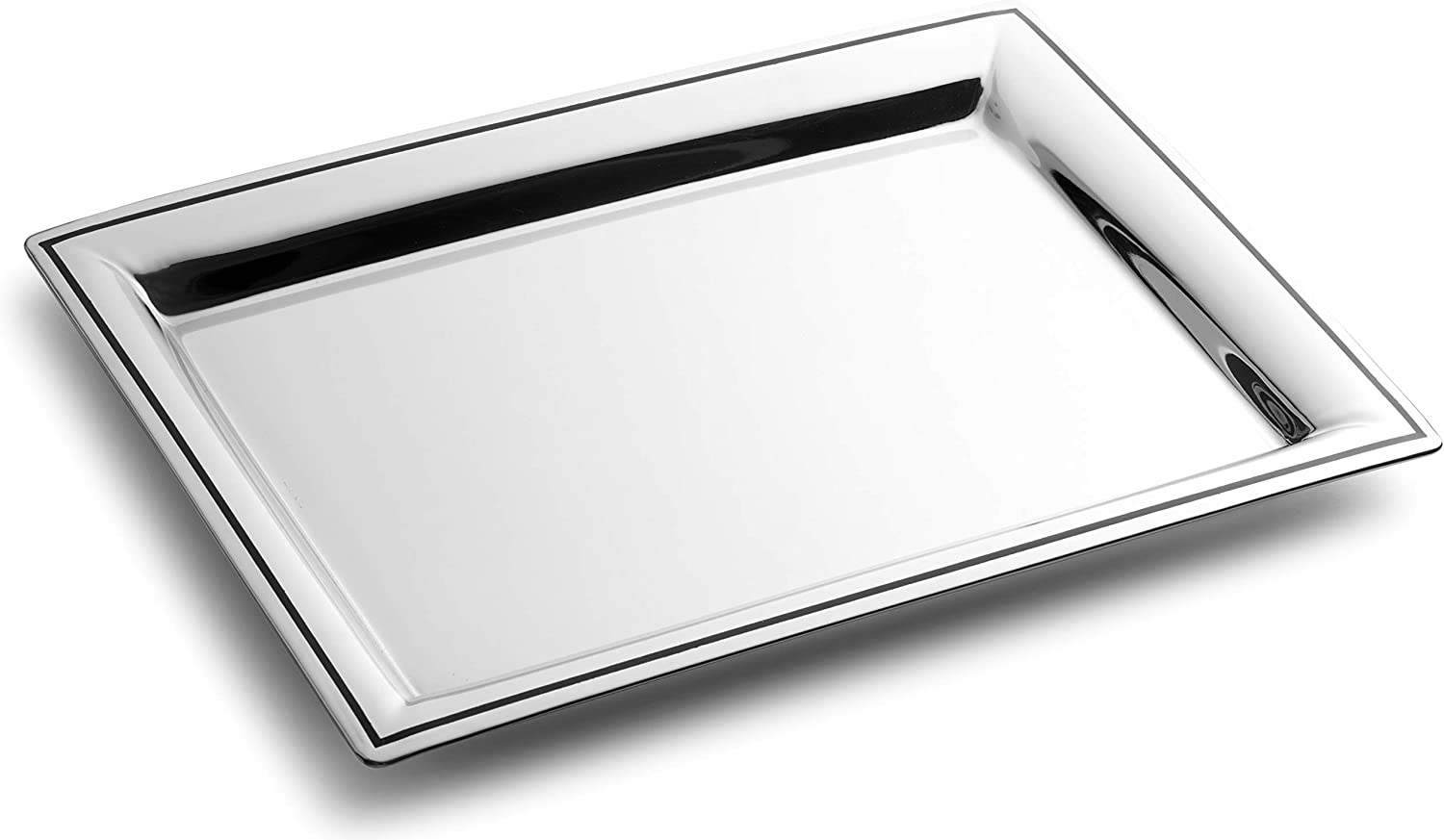 "Royalty Art Fancy Serving Tray, 16"" x 9.5"", Polished Silver Stainless Steel, Elegant Home Decor for Appetizers, Hor Dourves, Wine, and Event Hosting, Engraved Black Line"