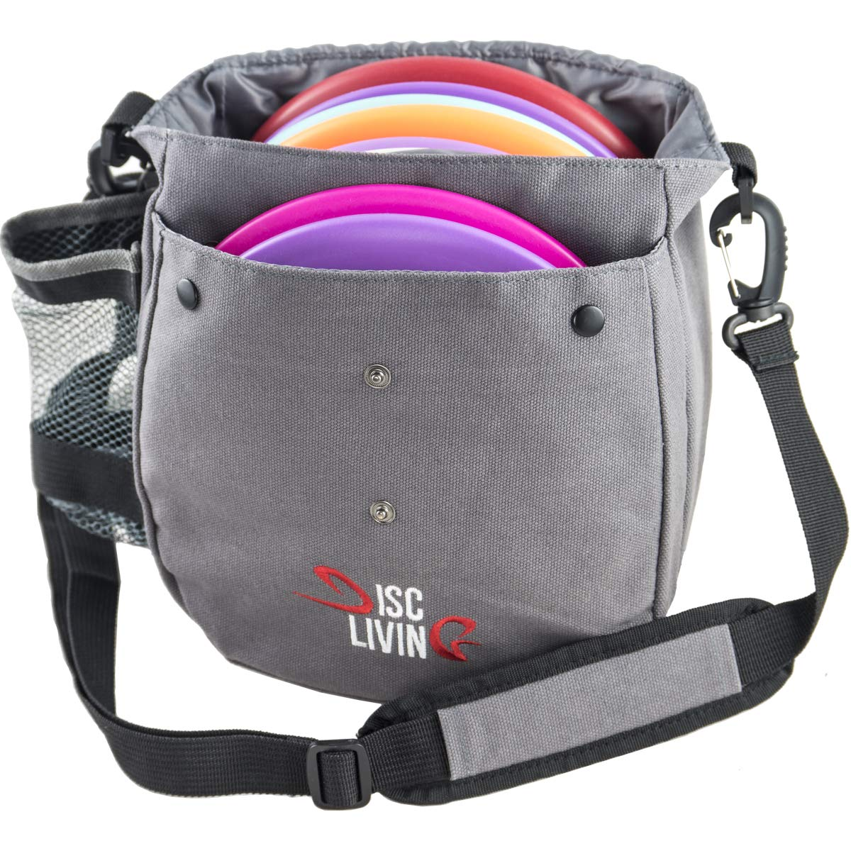 Disc Living Disc Golf Bag | Frisbee Golf Bag | Lightweight Fits Up to 10 Discs | Belt Loop | Adjustable Shoulder Strap Padding | Double Front Button Design | Bottle Holder | Durable Canvas (Grey) by Disc Living