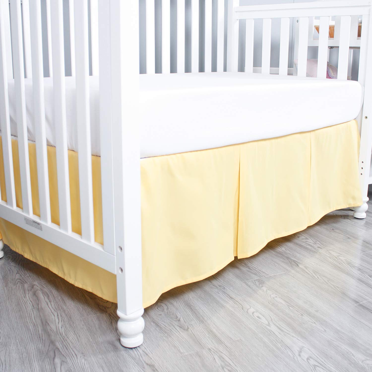 Length Drop Blue /& Yellow Both Long Sides Pleated Split Corners Dust Ruffle for Easy Placement Inside of Standard Crib Bed 14 inches Belsden 2 Pack Crib Skirts with Durable Woven Platform 36cm