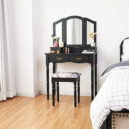 Giantex Vanity Table Set with Tri-Folding Mirror, Makeup Dressing Table  with 4 Drawers, Bedroom Vanity with Padded Stool, Room Desk Vanities, Black