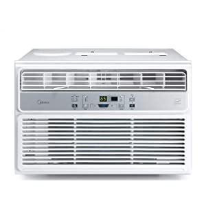 MIDEA MAW08R1BWT Window Air Conditioner 8000 BTU Easycool AC (Cooling, Dehumidifier and Fan Functions) for Rooms up to 350 Sq, ft. with Remote Control, 8,000, White