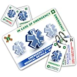 STANDARD Health and Safety In Case of Emergency (I.C.E.) Card Pack with Key Rings & Stickers from ICEcard **NEW Design 2017**. Wallet size card with WRITABLE surfaces. Family, Doctor, Emergency Contact & Medical / Medication / Health Supplement Information. Health & Wellbeing Tool. Provide A&E Accident and Emergency and First Responders with information. Suitable to help anyone with Acute Medical Conditions or General Health Care Concerns.