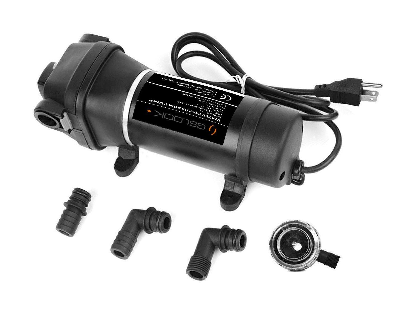 GSLOOK AC110V/115V Water Pressure Diaphragm Pump 4.5GPM 40PSI Self-priming RV Pump Caravan/Boat/Marine