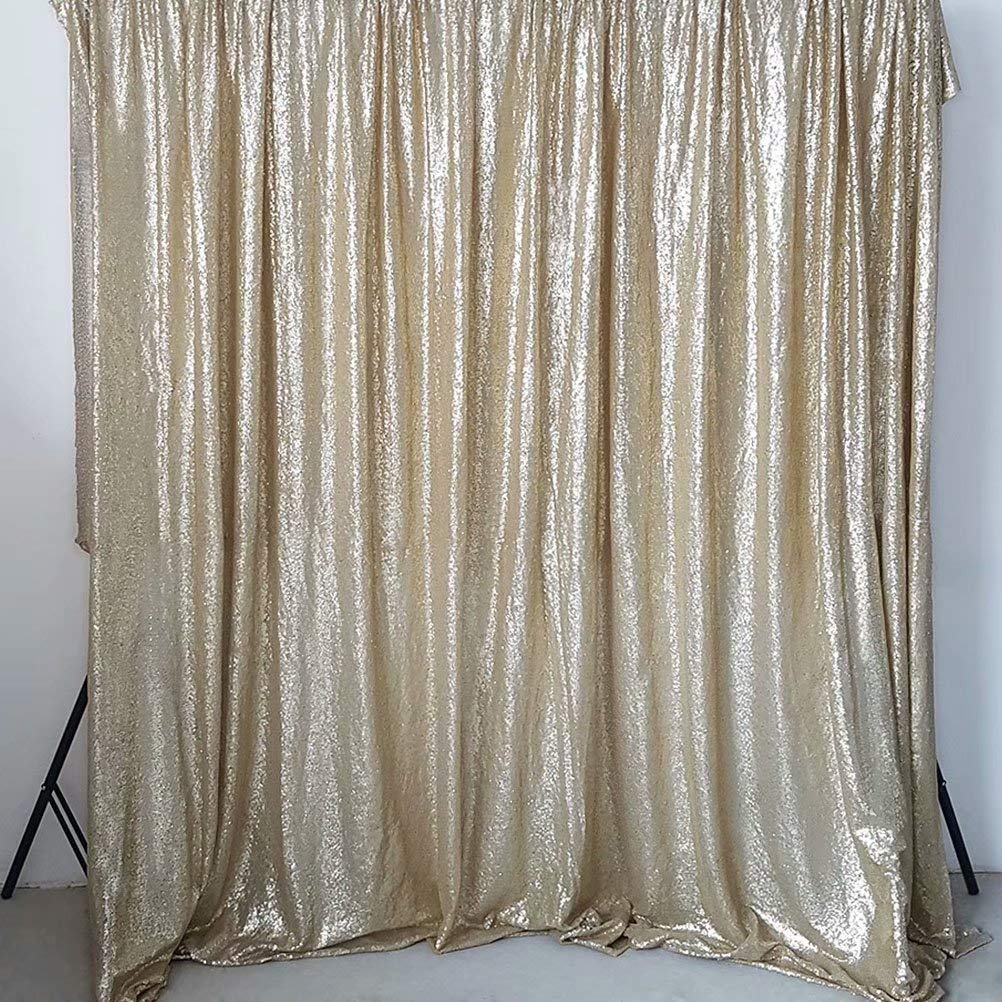 GFCC Champagne 8x8ft Sequin Backdrop Wedding Party Christmas Decoration Home Favors Photo Booth Backdround