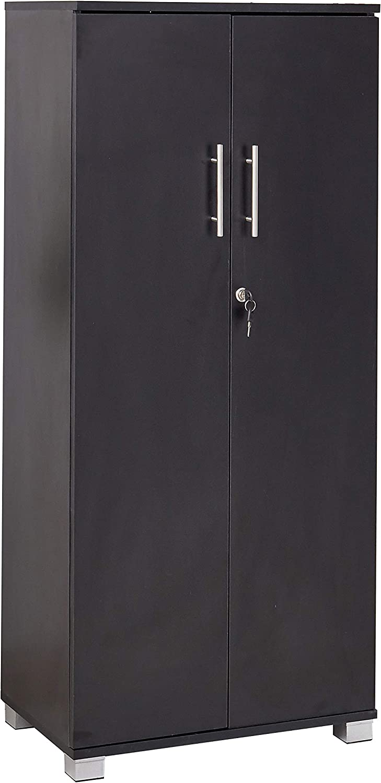 MMT Pantry Cabinet Tall 2 Door Bookcase Kitchen Cupboard/Office Storage Cupboard Filing Cabinet - Lockable, Office Furniture, 3 Storage Shelves (Black)
