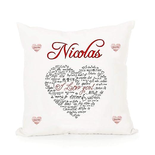 Cojín Corazón I Love You Personalizado con Nombre: Amazon.es ...