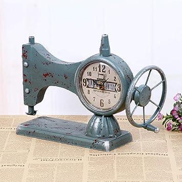 CWLLWC Reloj analógico,Reloj de chimeneaModelos máquina de Coser Cara Reloj máquina de Coser Antigua Reloj Creativo decoración casera 33 * 12 * 23 cm: ...