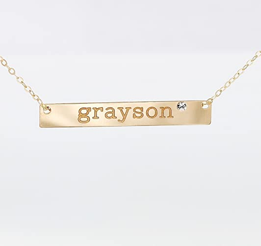 Amazon personalized 14k gold fill nameplate necklace with personalized 14k gold fill nameplate necklace with swarovski crystal diamond 925 sterling silver long name aloadofball Images