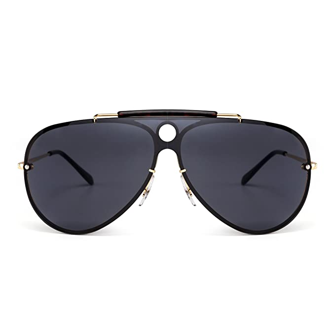 99d20de5fbec Rimless Sunglasses Mirrored Flat Top One Piece Metal Eyewear Men Women  (Gold Grey)  Amazon.co.uk  Clothing