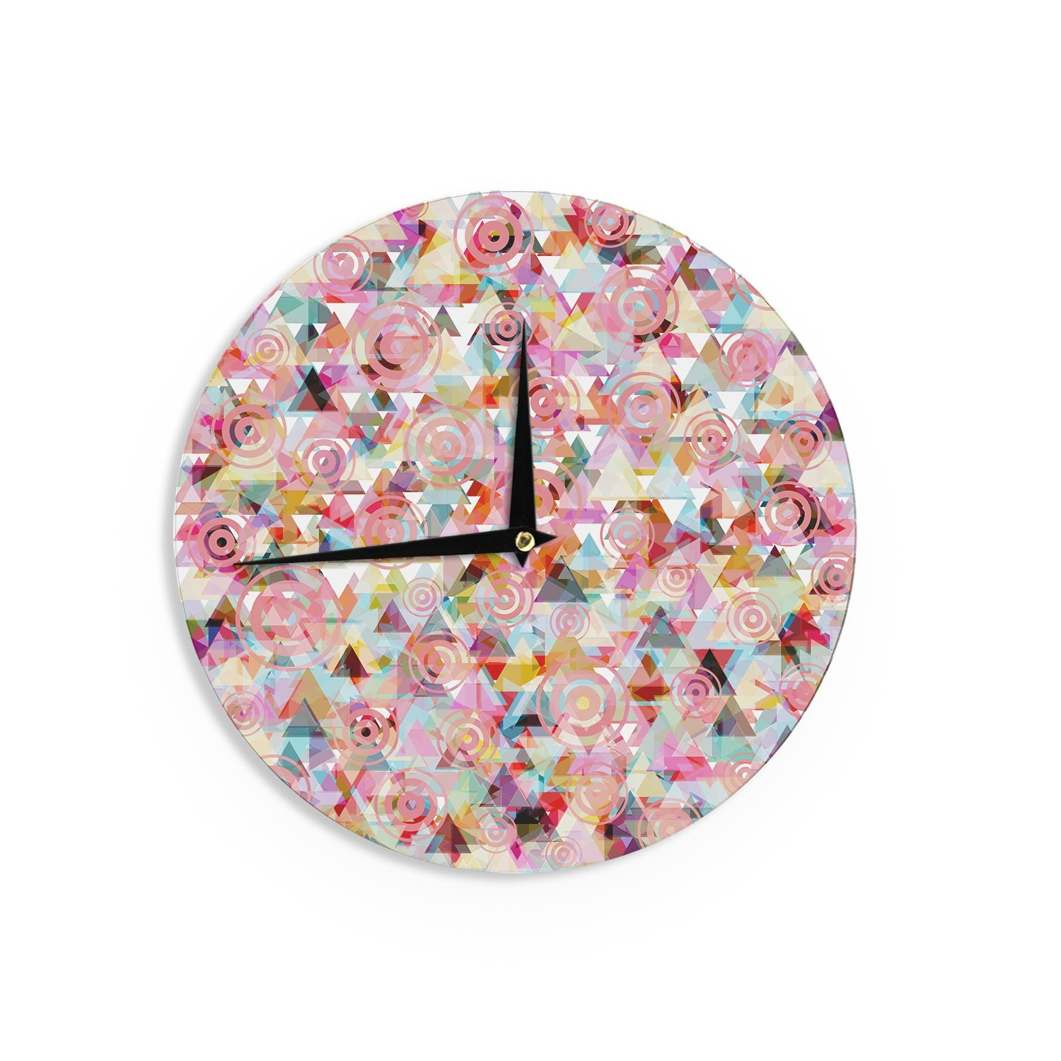 Kess InHouse Suzanne Carter Geo Pink Multicolor Wall Clock 12-Inch