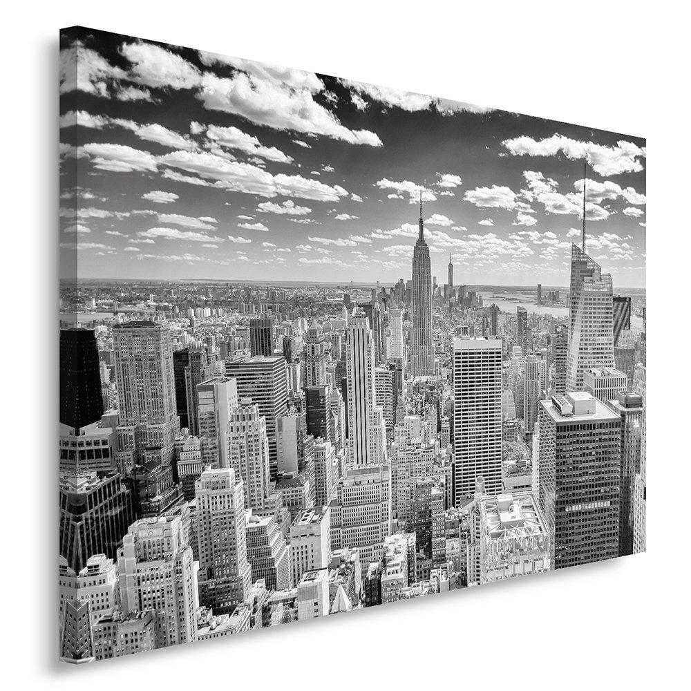 Feeby, Leinwandbild, Bilder, Wand Bild, Wandbilder, Kunstdruck 80x120cm, New York PANORAMEN, SCHWARZ UND WEIß