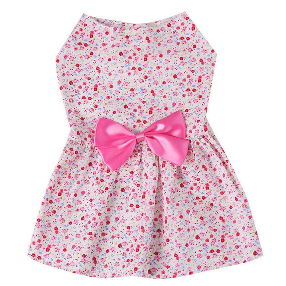 Fitfulvan Clearance!Floral Paste Dress Pet Small Dogs Party Princess Pet Apparel(Pink,L)