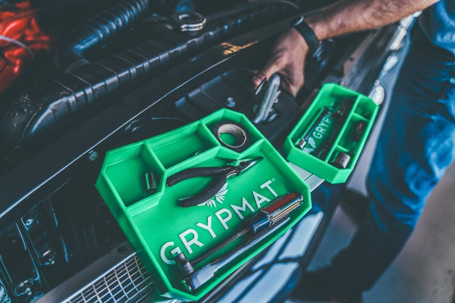 Small Grypmat Automotive /& DIYer Non-slip Non-magnetic Tool Box Organizer Optimize Workflow with Tool Tray Green Color Grip Mat