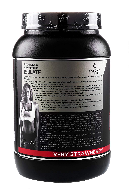 Sascha Fitness - Aislado de Proteína de Suero Hidrolizado (907 gr , Fresa)