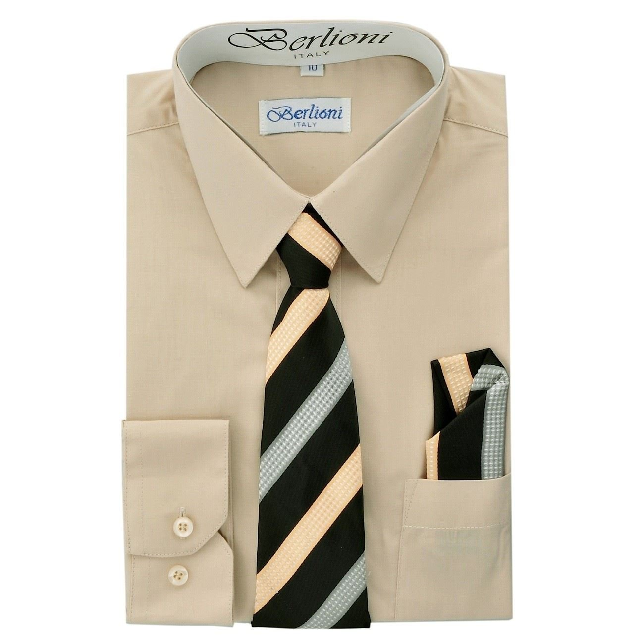 Berlioni Italy Kids Boys Dress Shirt with Tie & Hanky Long Sleeves Khaki