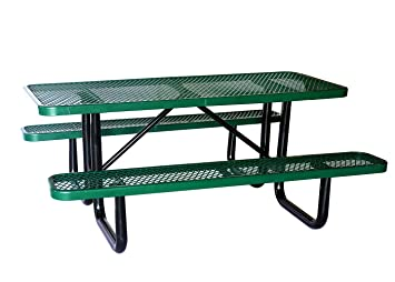 Amazon lifeyard 72 expanded commercial metal picnic table lifeyard 72quot expanded commercial metal picnic table with attached seats rectangulargreen watchthetrailerfo