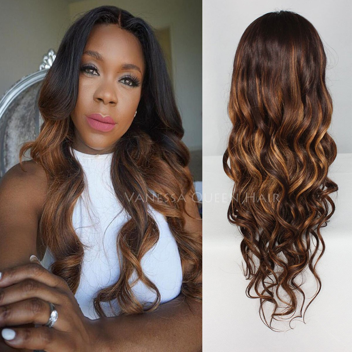 Vanessa Queen Brown Hair Full Lace Wigs Two Tone Color Wavy Lace Front Human Hair Wigs Ombre Hair Wigs