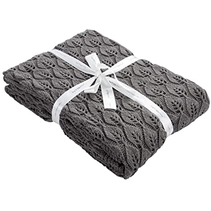 Amazon Ntbay 100 Cotton Cable Knit Throw Blanket With Leaf
