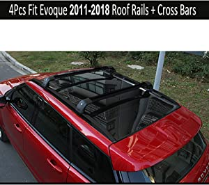 KPGDG Fit for Land Rover Range Rover Evoque 2011-2019 with sunroof 4Pcs Aluminium Roof Rail Roof Rack Cross Bars Crossbar - Black