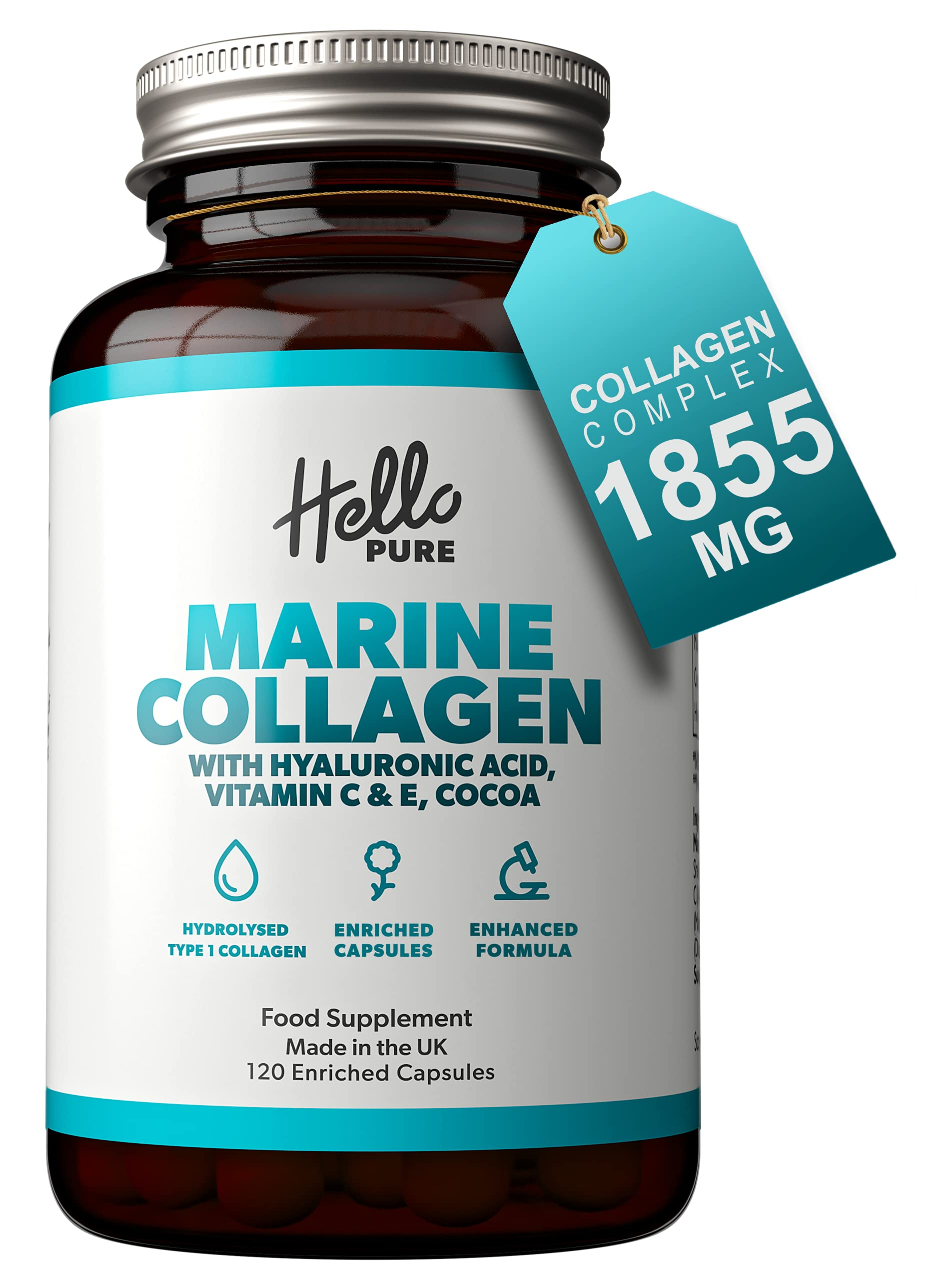 Ultra Potent Radiance Marine Collagen Supplement Complex 1855mg with Hyaluronic Acid & Vitamins C & E – Hydrolysed Collagen Capsules Not Collagen Tablets – Healthy Skin, Immune System & Joints