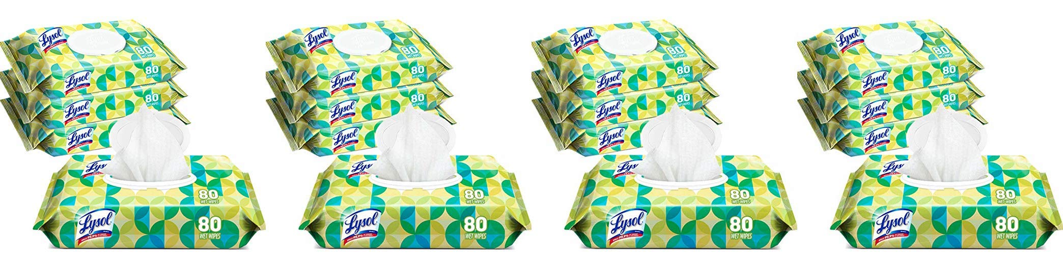 Lysol Handi-Pack Disinfecting Wipes, 320ct (4X80ct), Cool Country Breeze - 4 Pack