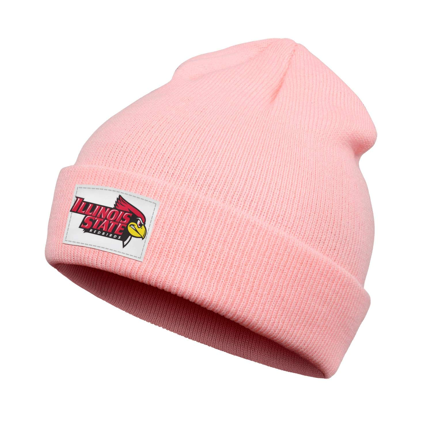 LMQI Kids Winter Knit Cap Cute Flat Brim Illinois-State-Redbirds-Baseball-Logo Style Pink Beanie Hat for Boys Girls