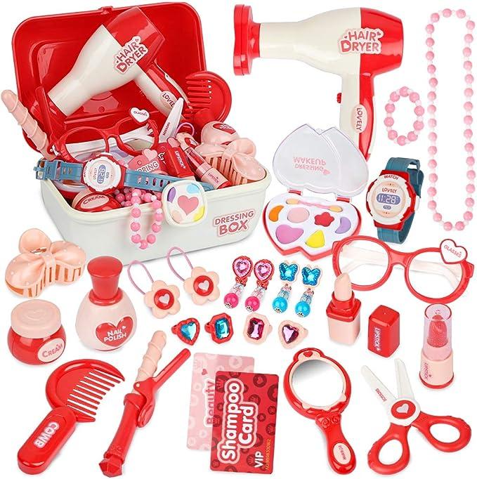 HYMAN Rollenspiele Schmink Frisierk/öpfe Spielzeug 35 STK Kinder Schmink Friseur Puppe Styling Kopf Spielzeug mit F/ön
