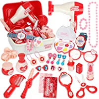 Sanlebi Pretend Makeup Set Role Play Cosmetics Kit Princess Dress Up Kids Hairdressing Gift Toy for 3 Year olds Little…