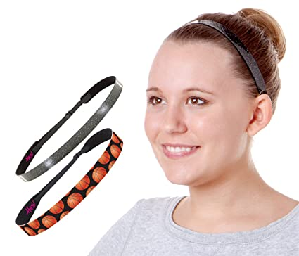 Hipsy NO Slip Smooth Glitter   Basketball Headbands for Girls   Teens Multi  Pack (Black 19729e6689c8