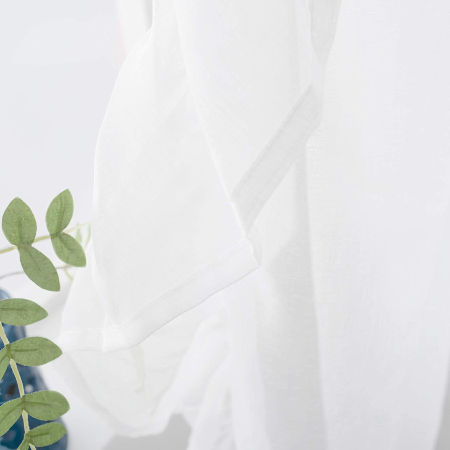 Rod Pocket 52x84,Off White DrfitAway 2 panels-Sophie Sheer Voile Window Curtains Ruffle edge each