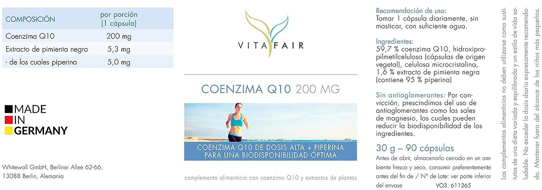 Coenzima Q10-200mg por Porción - 90 cápsulas - Ubiquinon con Piperina - Vegano - Máxima Biodisponibilidad - Hecho en Alemania