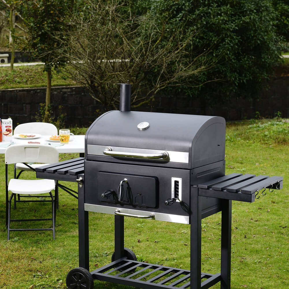 Includes two side tables XXL Charcoal BBQ Grill