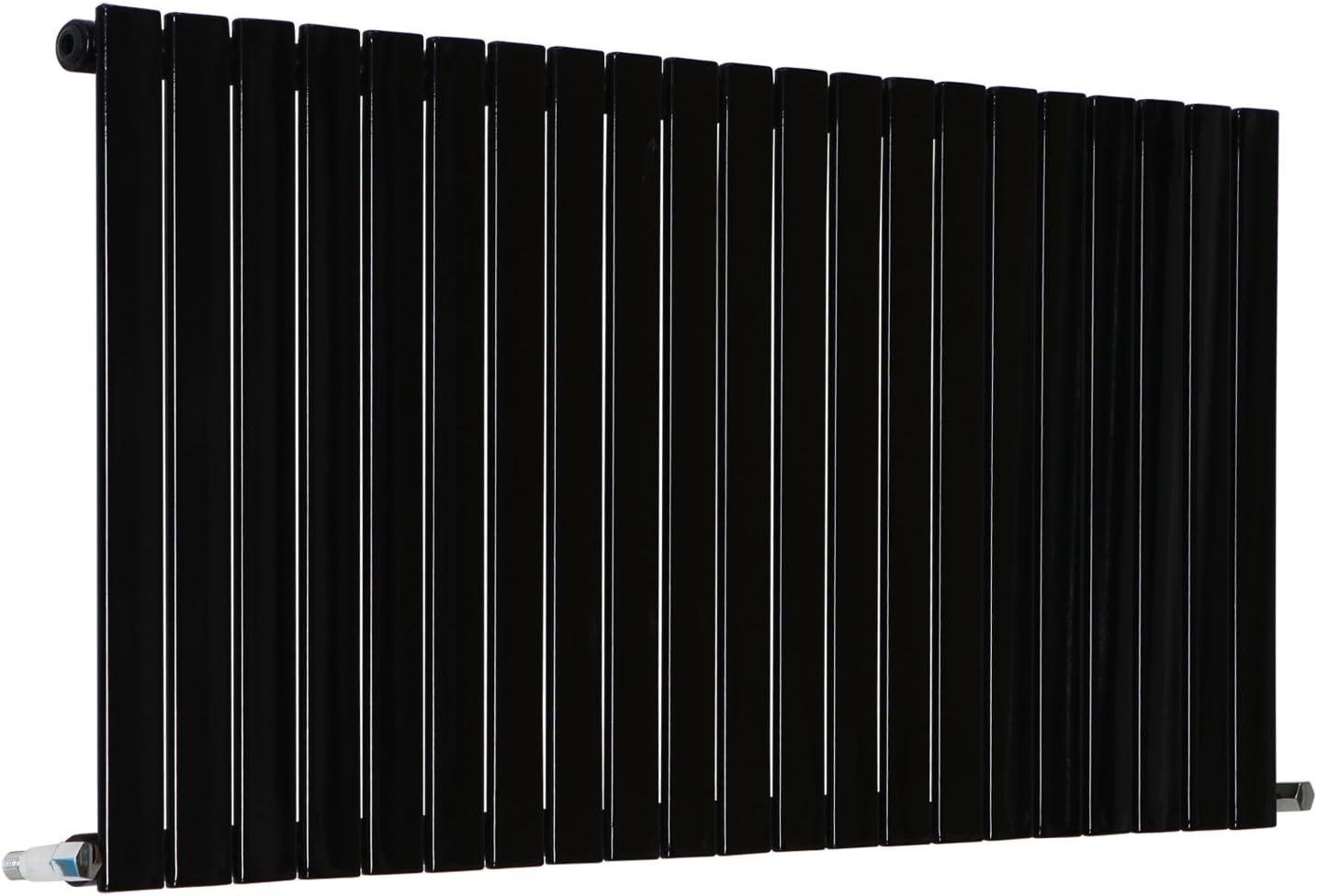 NRG 600x408mm Horizontal Flat Panel Designer Radiator Bathroom Heater Central Heating Rad Double Column Black