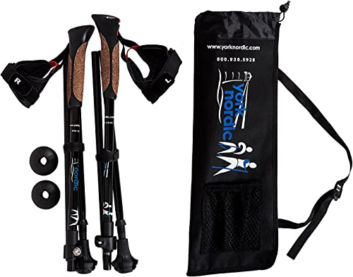 York Nordic Shorter Length Travel Walking Poles – Collapsible with Carrying Bag 2 Piece , Black, 5ft 4in and Under