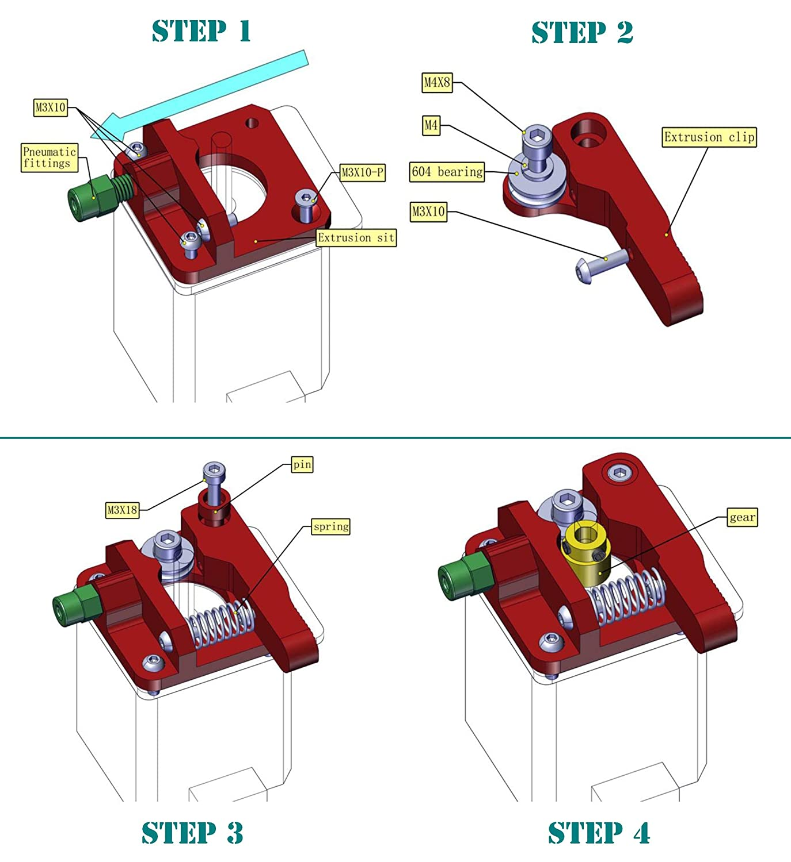 Gwisdom CR-10 Estrusore aggiornato di ricambio cr-10 S4 alluminio MK8 Drive Feed Extruders 3D per stampante Creality cr-10 1.75 mm cr-10s cr-10 S5 RepRap Prusa i3