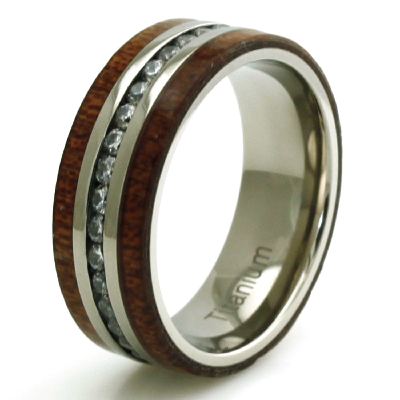 Titanium Cubic Zirconia Eternity Mahogany Wood Ring, Size 13