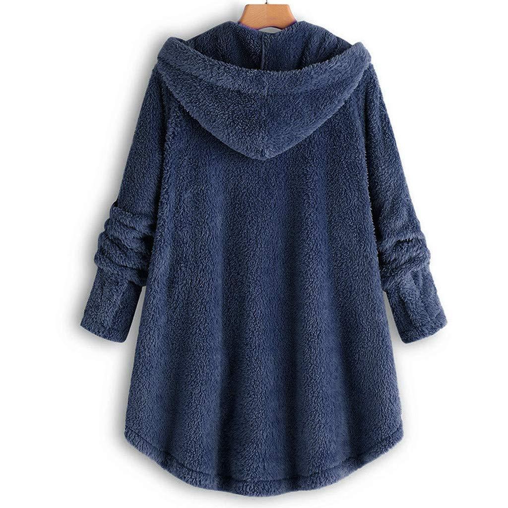 iHENGH Damen Herbst Winter Bequem Mantel L/ässig Mode Jacke Frauen Knopf Mantel Flauschige Schwanz Tops Mit Kapuze Pullover Lose Pullover