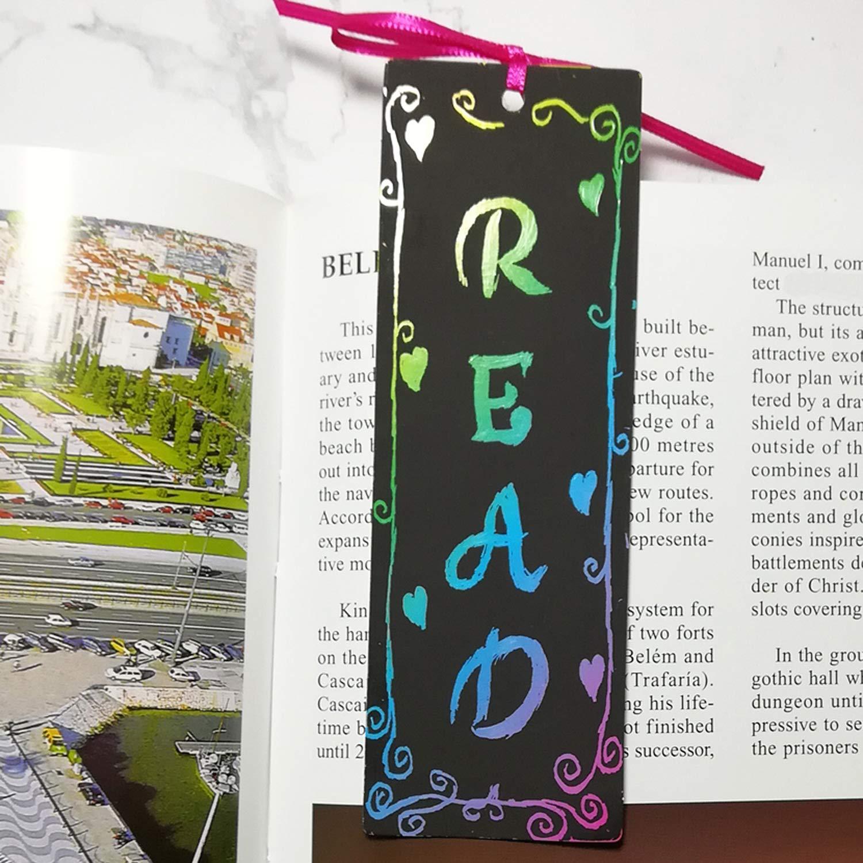 Tag regalo fai da te Note cards con nastri di raso spago di juta per bambini festa per studenti stilo di bamb/ù Guwheat 60 Pcs Scratch Rainbow Bookmarks