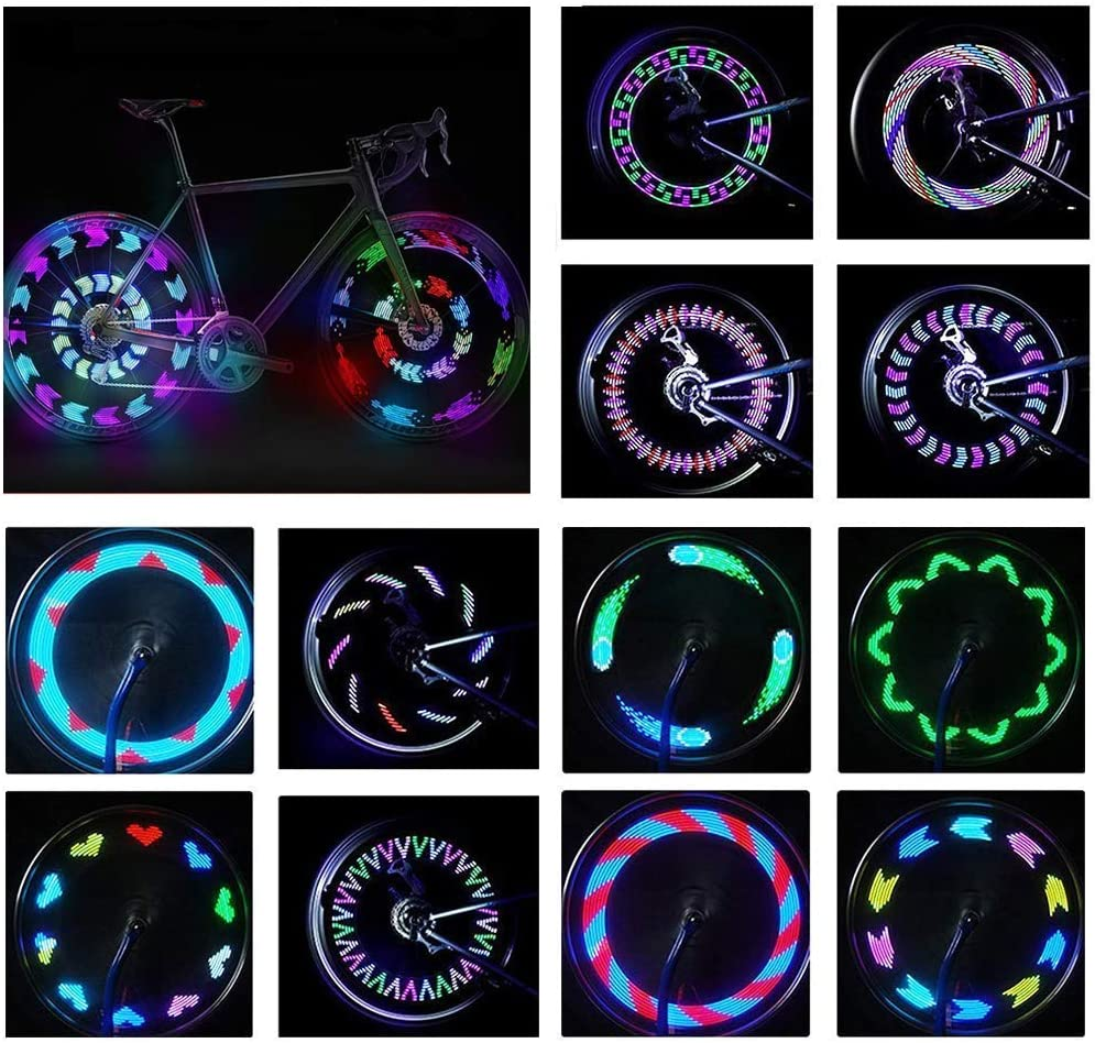 Bike Wheel Lights,BYPA Bicycle Wheel Light LED Waterproof Spoke Lights Bicycle Color Led Lights for Kids Adults-14Led 30Patterns -Ultra Bright, Visible from All Angles,Automatic Manual Dual Switch