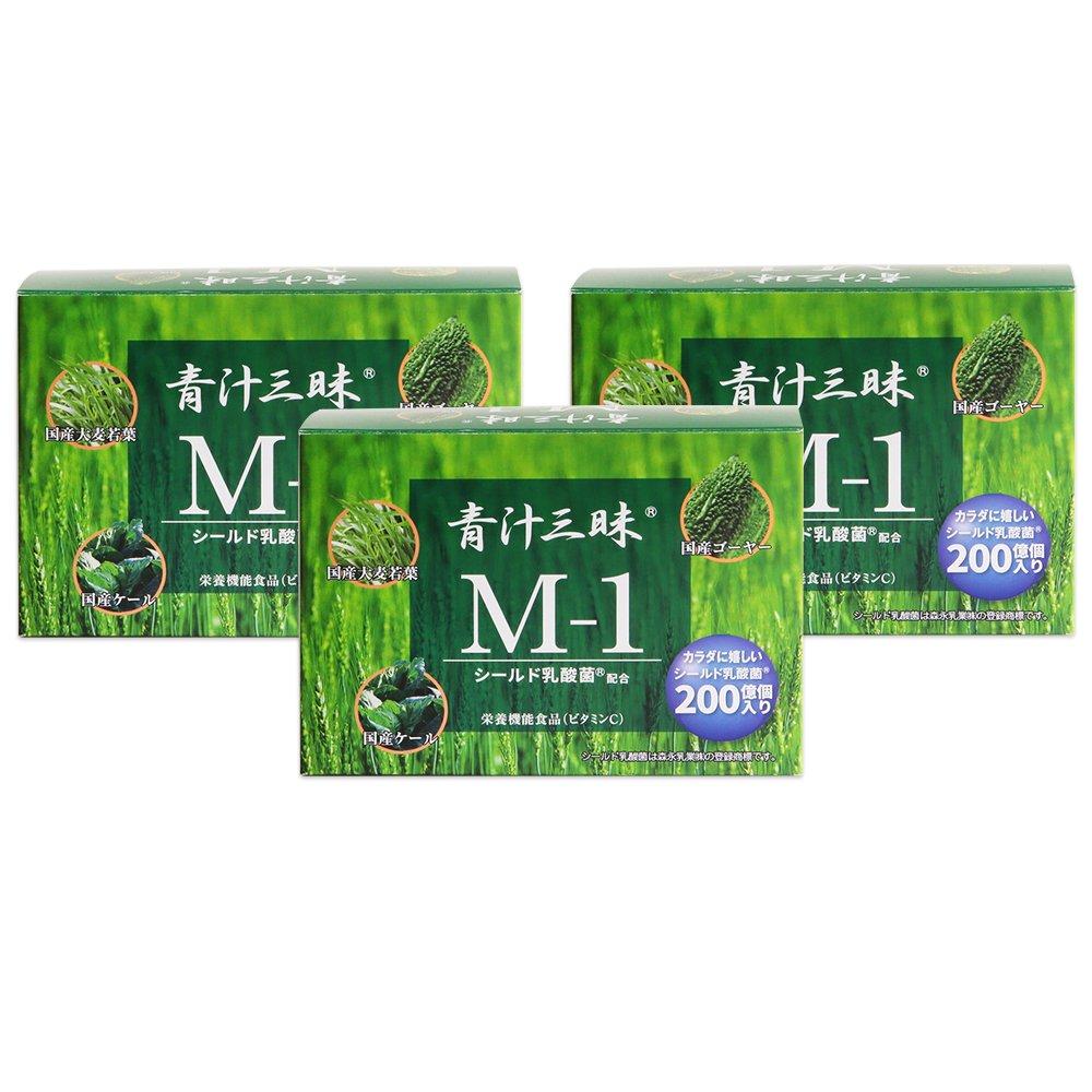 青汁三昧M-1 3箱 (1箱=6g×30包入り) シールド乳酸菌配合 国産大麦若葉ケールゴーヤー 栄養機能食品(ビタミンC) B071X8MLL3