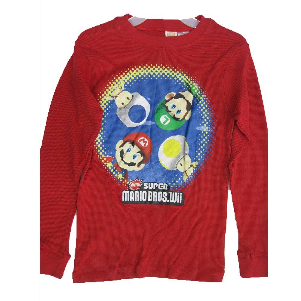 Super Mario Big Boys Red Cartoon Character Print Long Sleeve Shirt 8