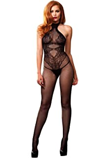 0bcc9c8224f Leg Avenue Seductive Seamless Fishnet   Floral Lace Halterneck Crotchless  Bodystocking