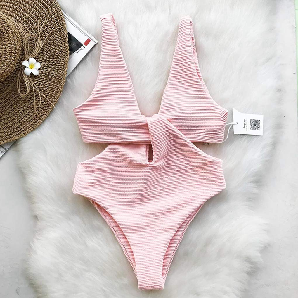 DiyItem Pink Shine One-Piece Swimsuit Womens V-Neck Bow